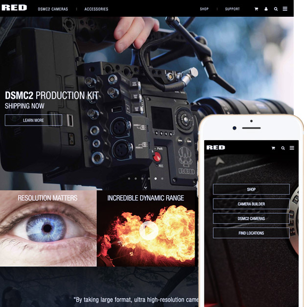 RED.com desktop and mobile image, shopify plus