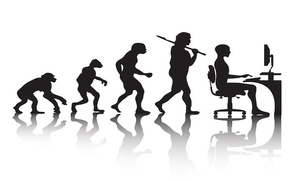 Evolution of work from ape to man at computer - Like evolution of NetSuite Site Builder to SuiteCommerce Advanced
