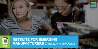 2 women working on manufacturing project - NetSuite 2019 - Download NetSuite for Emerging Manufacturers PDF