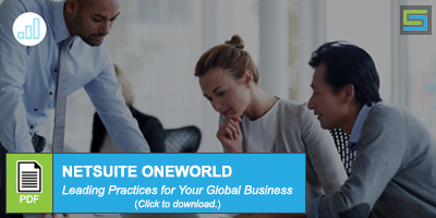 Three people viewing something on a table - CTA Button - NetSuite OneWorld Blog