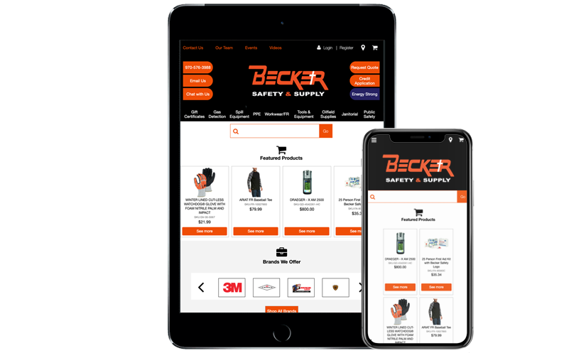 Tablet next to iPhone X with Becker Safety and Supply's web store, NetSuite's B2B ecommerce software SuiteCommerce Advanced