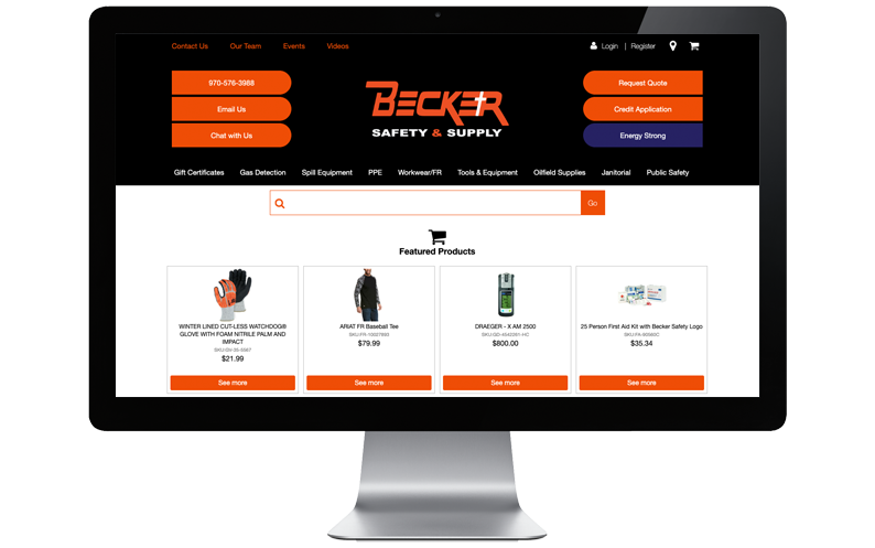 Computer desktop with Becker Safety and Supply website on screen, B2B ecommerce software