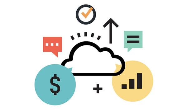 Cloud platform, money symbol, chat symbol, NetSuite consultants