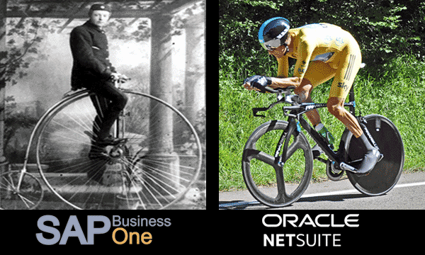 Penny farthing bicycle and modern racing bicycle, SAP Business One vs NetSuite
