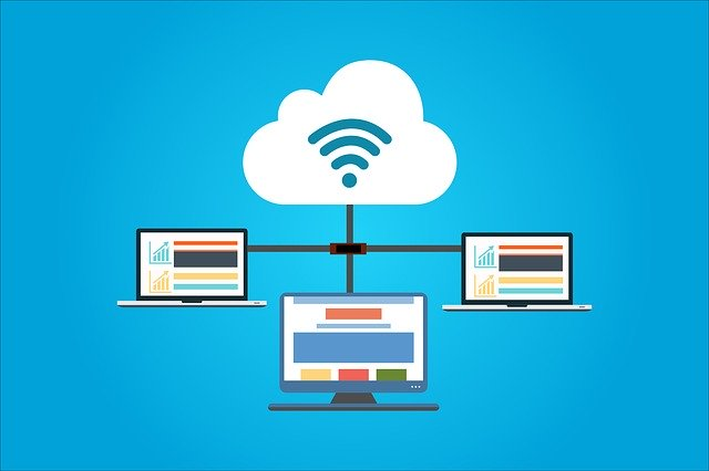 Cloud Computing with three computers synced through the cloud, Cloud ERP