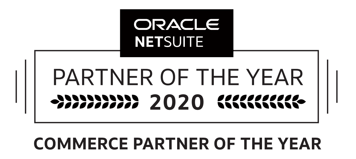 Oracle Netsuite Commerce Partner of the Year 2020 logo, healthcare erp