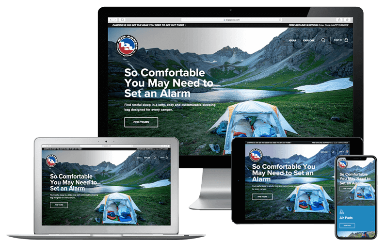 Computer desktop, laptop, tablet, and iPhone with Big Agnes website on screen, NetSuite Case Studies