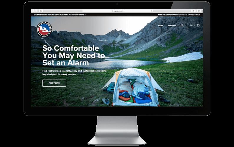 Mac computer desktop with Big Agnes NetSuite SuiteCommerce Advanced website, netsuite ecommerce upgrade