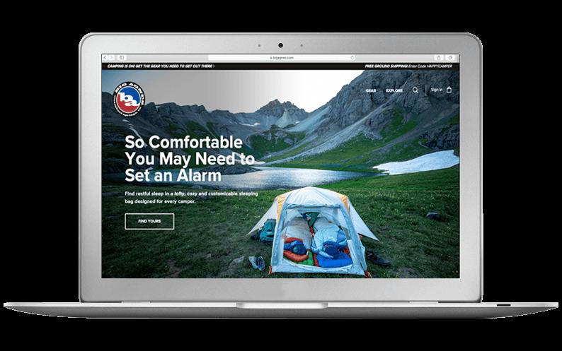 Computer laptop with Big Agnes NetSuite SuiteCommerce Advanced website, SuiteCentric customer
