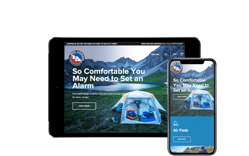 Tablet next to iPhone X with Big Agnes NetSuite SuiteCommerce Advanced website, netsuite ecommerce upgrade