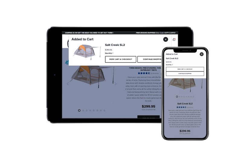 Tablet with iPhone X showing the Big Agnes NetSuite SuiteCommerce Advanced web store, netsuite ecommerce upgrade