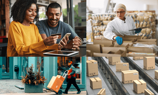 Couple online shopping, pick & pack, delivery process, erp and commerce