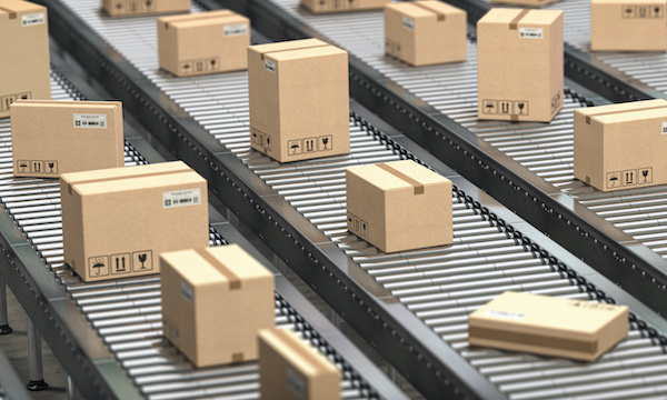 cardboard boxes on conveyer belts, sales tax changes