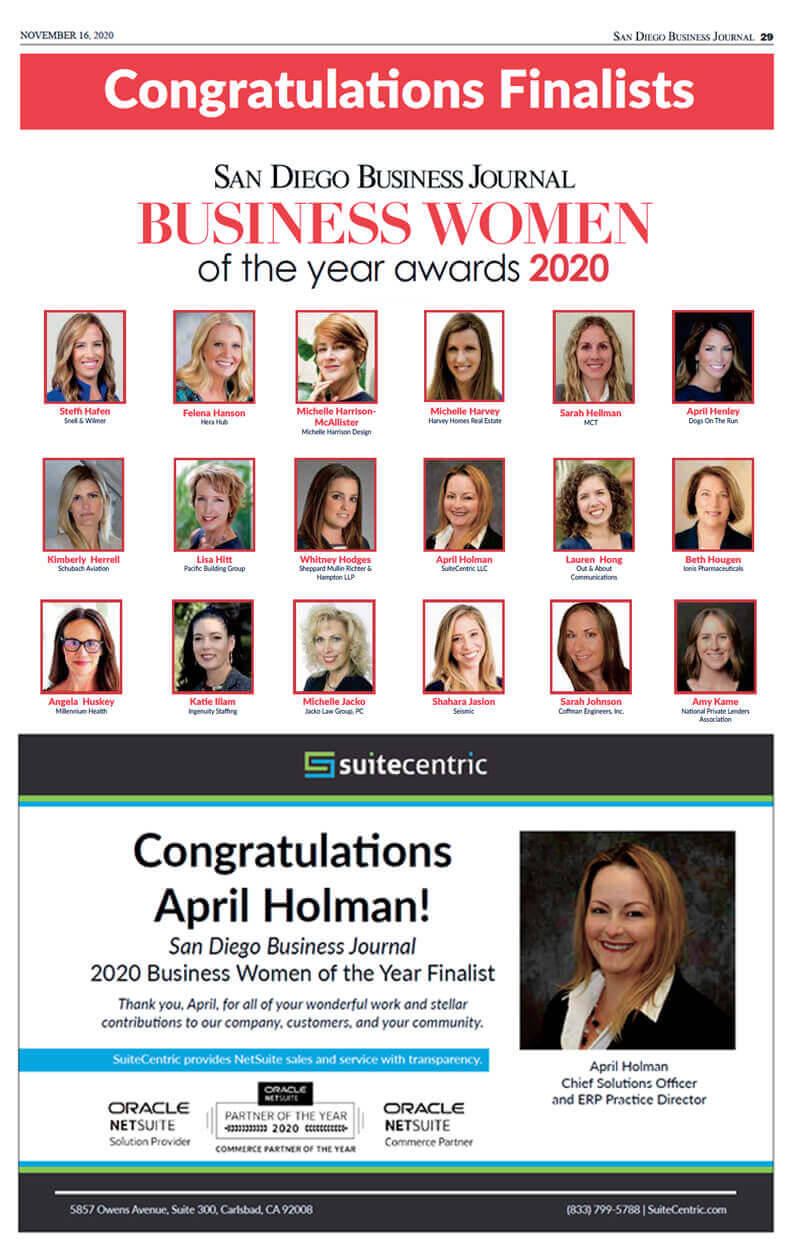 San Diego Business Journal - Business Women of the Year Awards 2020 - April Holman, SuiteCentric