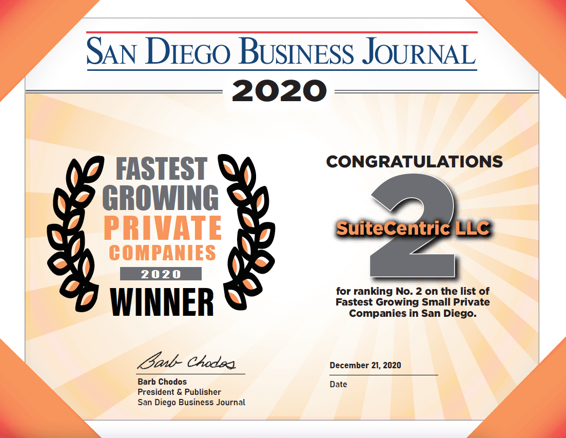 San Diego Business Journal Fastest Growing Private Companies 2020 Certificate - SuiteCentric