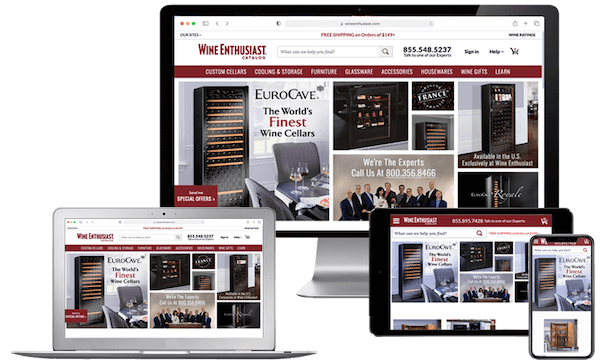 Wine Enthusiast Companies website on multiple devices, NetSuite Case Study by SuiteCentric, NetSuite Consultants