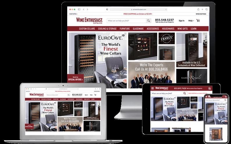 Laptop, desktop, tablet and mobile phone showing Wine Enthusiast Companies NetSuite SuiteCommerce Advanced website, NetSuite SCA Implementation