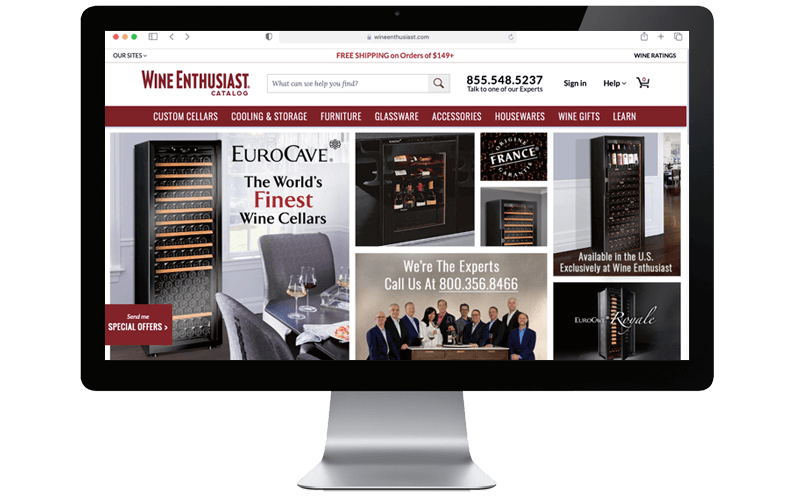 Mac computer desktop with Wine Enthusiast Companies' NetSuite SuiteCommerce Advanced website
