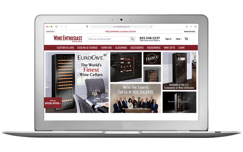 Computer laptop with Wine Enthusiast Companies' NetSuite SuiteCommerce Advanced website, SuiteCentric customer, SCA Implementation