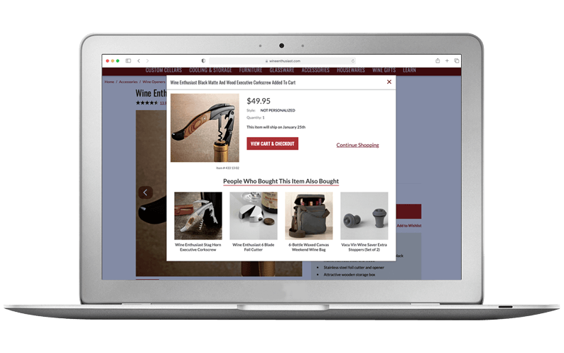Computer laptop with Wine Enthusiast Companies' NetSuite SuiteCommerce Advanced website, SuiteCentric customer