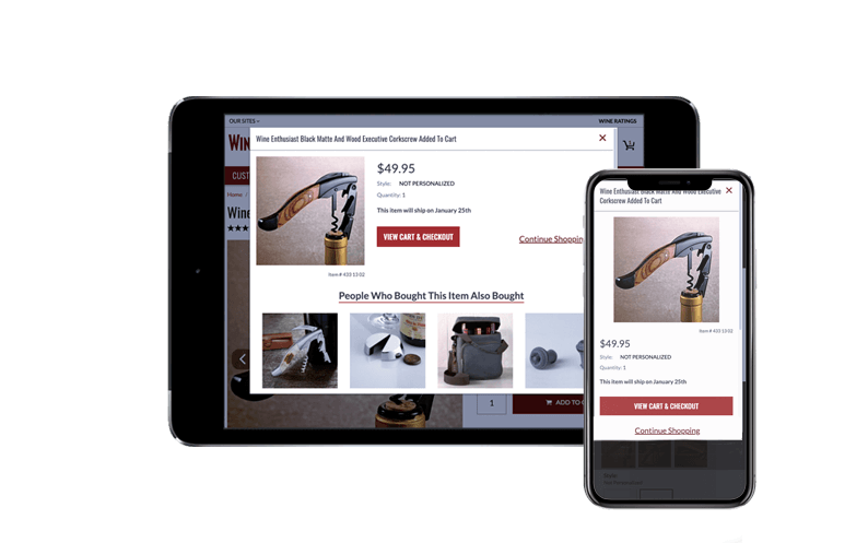 Tablet with iPhone X showing the Wine Enthusiast Companies' NetSuite SuiteCommerce Advanced web store, SuiteCentric Customer