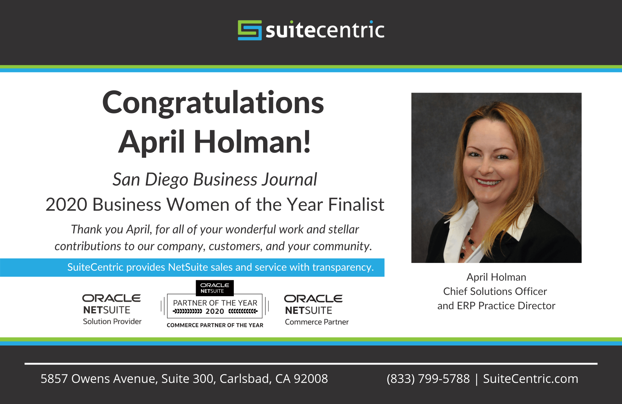 Congratulations to April Holman for being a finalist in the SDBJ Business Women of the Year Awards in 2020