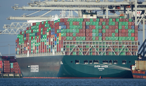Ever Given tanker ship in harbor, Suez Canal Blockage