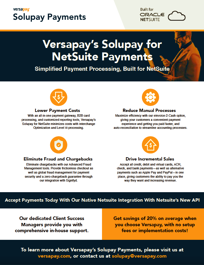 Versapay Solupay Payments NetSuite Datasheet - Image, SuiteCentric