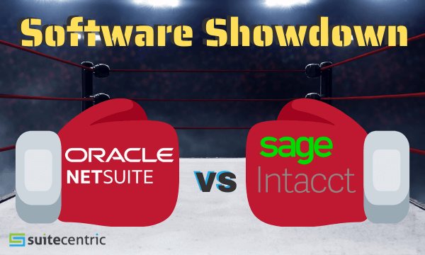 Software showdown, boxing gloves in boxing ring, NetSuite vs Intacct