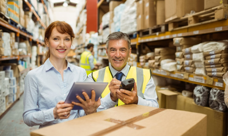 Food and Beverage Sales transaction, man and woman checking inventory, Food and Beverage ERP