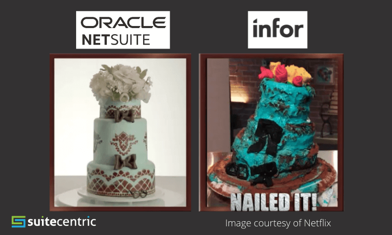 Two cakes from Netflix's show Nailed It, SuiteCentric Blog - NetSuite vs Infor ERP